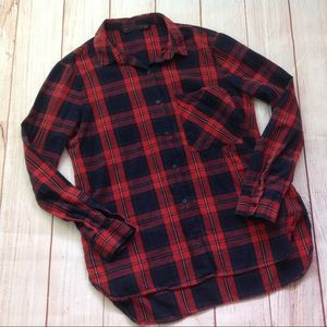 Zara Trafaluc Navy Red Plaid Flannel Shirt